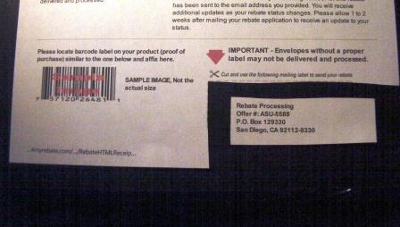 A Mail in Rebate Form with very specific instructions