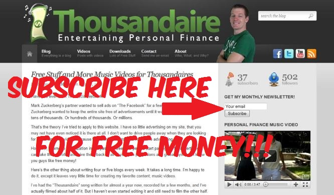 Enter Thousandaire Giveaway