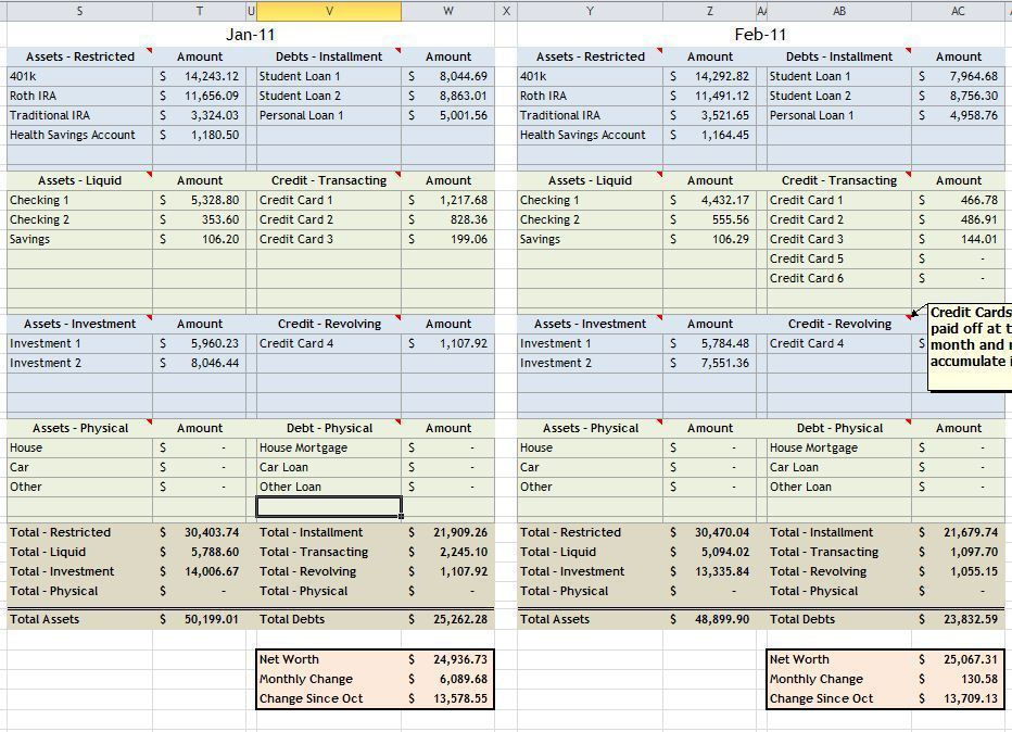 net worth spreadsheet excel