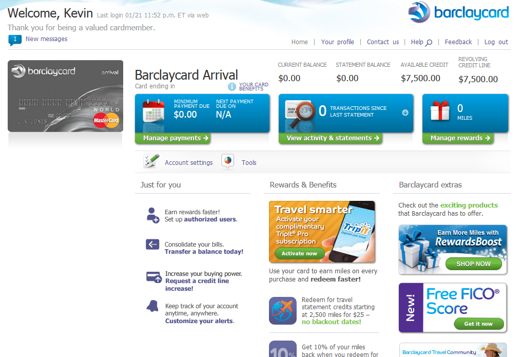 Barclaycard Arrival Home Page