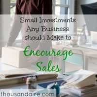 encourage sales, small investment advice, business tips