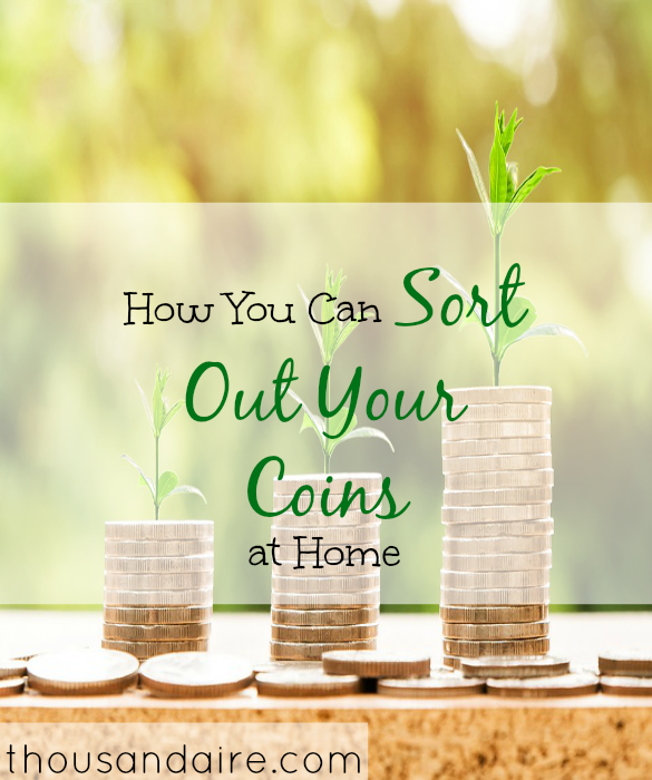sorting out coins, spare change tips, coins at home