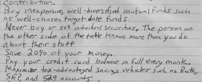 3x5 card financial rules