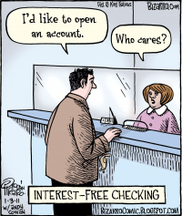 Interest free checking cartoon